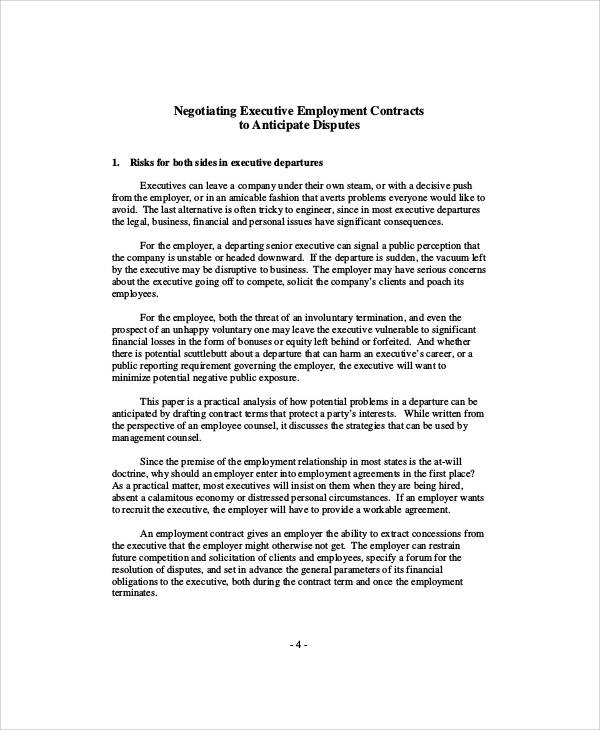 Executive Employment Contract Sample - 9+ Examples in Word, PDF - executive employment contract