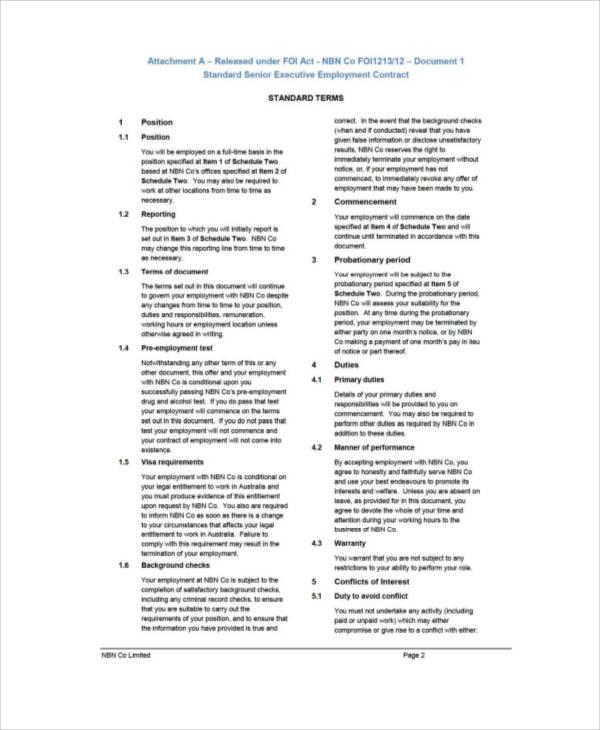 Executive Employment Contract Executive Employment Contract Sample