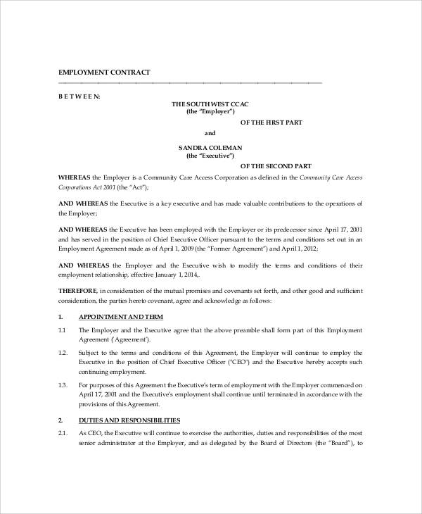 100+ Employee Contract Template 9 Free | Contract Sample Contractor ...