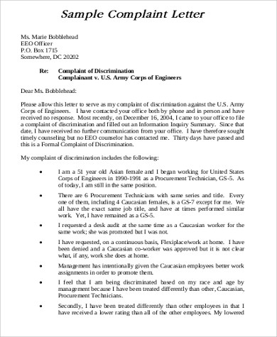 Sample Formal Complaint Letter - 8+ Examples in Word, PDF - complaint letter examples