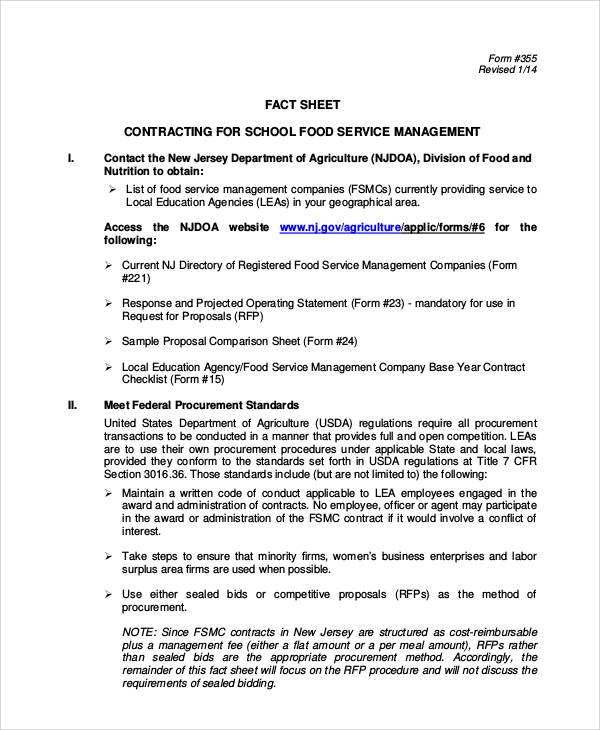 Contract Food Service Sample - 7+ Examples in Word, PDF