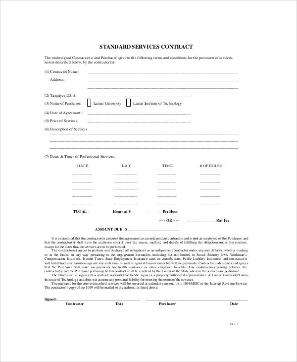 7+ Standard Service Contract Samples Sample Templates - service contract