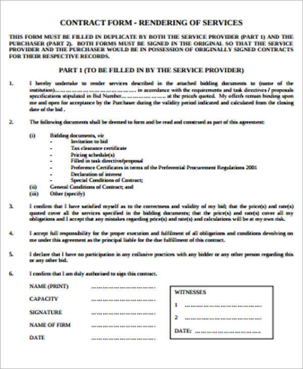15+ Simple Service Contract Samples Sample Templates - simple service contract