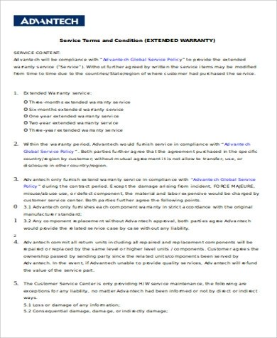6+ Sample Extended Service Contract Sample Templates