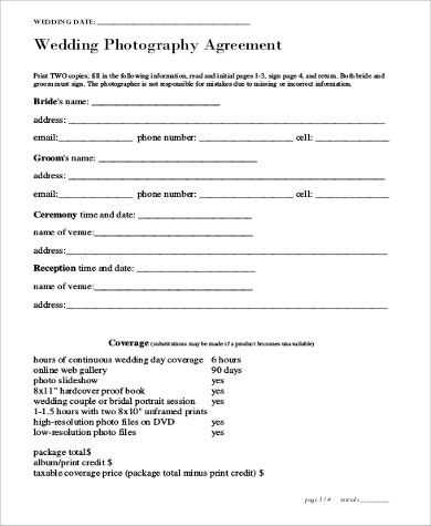 Sample Photography Services Contract - 7+ Examples in Word, PDF - photography services contract