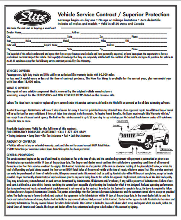 7+ Sample Vehicle Service Contract Sample Templates