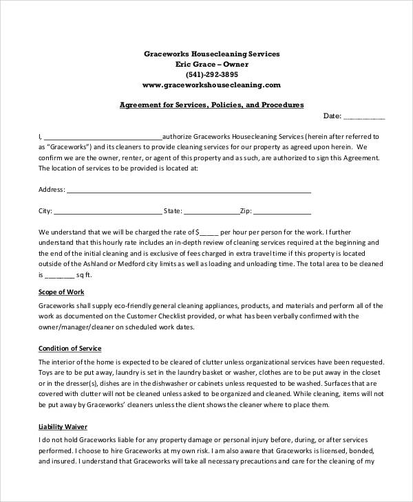 cleaning service contract examples - Ozilalmanoof - residential service contracts