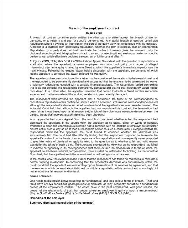 6+ Breach of Employment Contract Samples Sample Templates - breach of employment contract