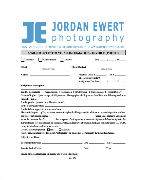 6+ Sample Photography Invoices Sample Templates