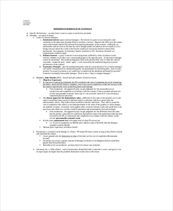 Breach of Employment Contract Sample - 6+ Examples in Word, PDF - contract breaches remedies
