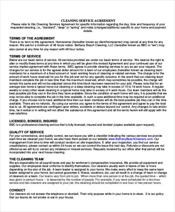7+ Sample Cleaning Service Contract Sample Templates