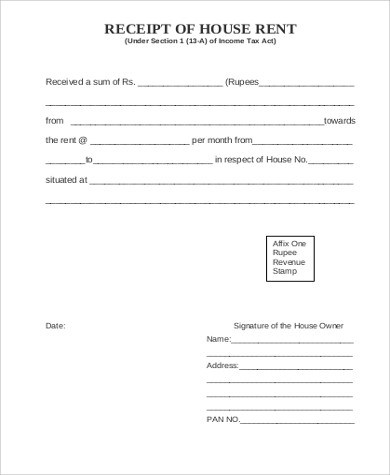 Sample rent receipt form - 6+ Examples in Word, PDF