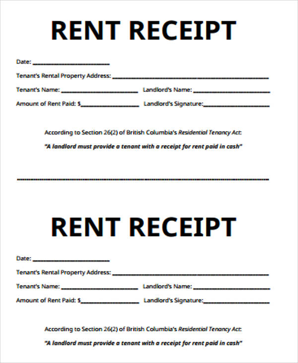 rental payment receipt sample
