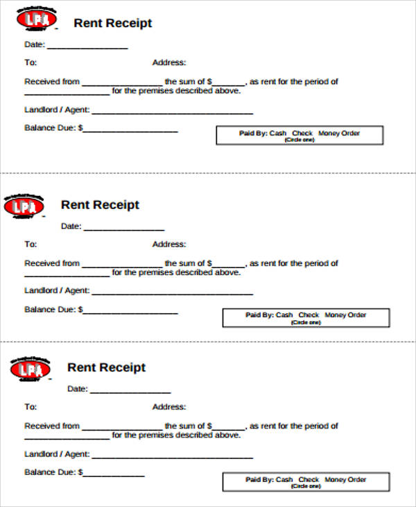 Blank Rent Receipt Sample - 6+ Examples in Word, PDF - printable rent receipts