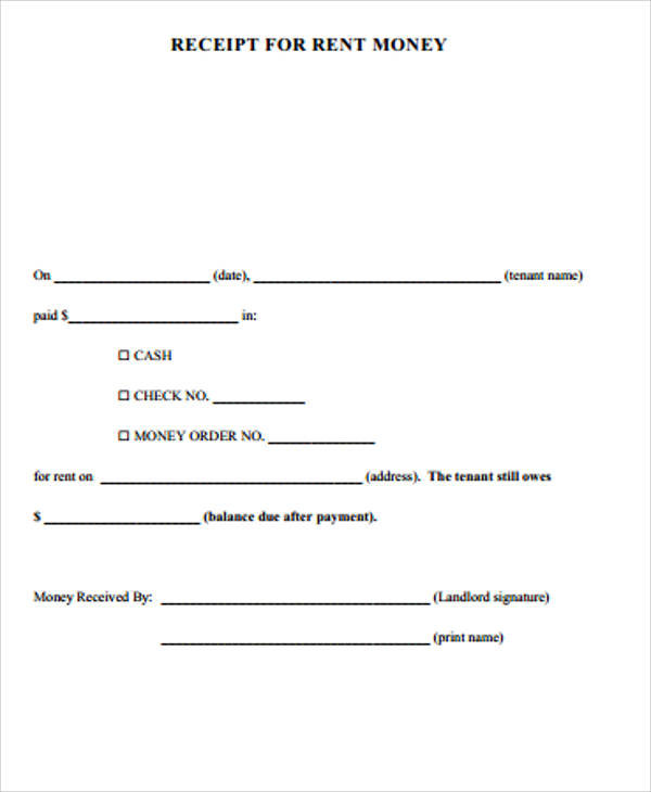 6+ Blank Rent Receipt Samples Sample Templates - blank receipt