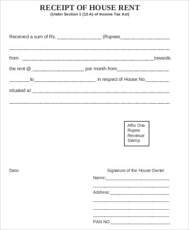 Sample House Rent Receipt - 5+ Examples in Word, PDF - house rent receipt form