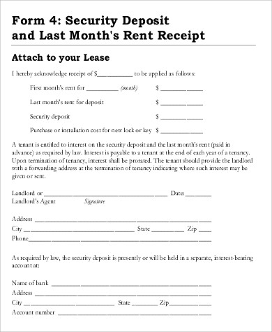 Sample Rent Deposit Receipt - 8+ Examples in Word, PDF