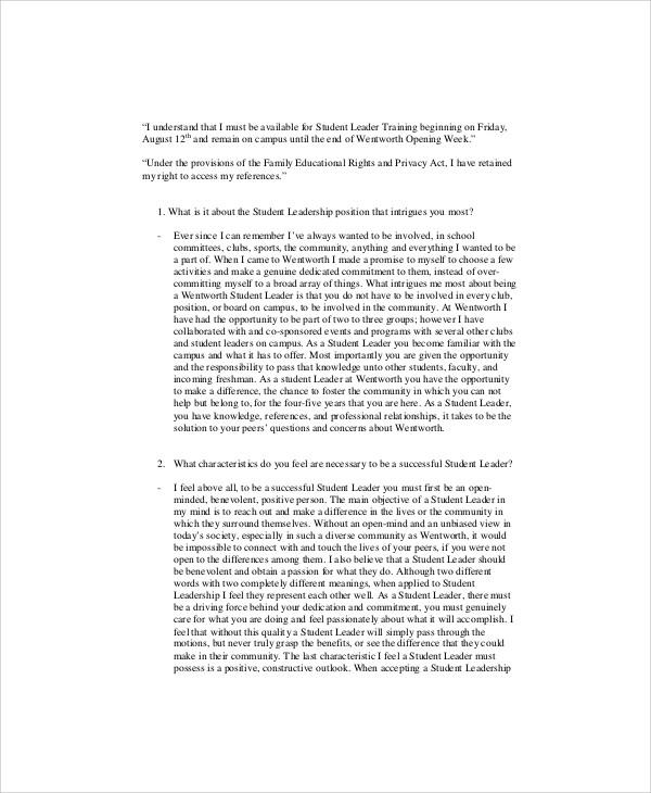 Leadership Essay Example - 9+ Samples in Word, PDF