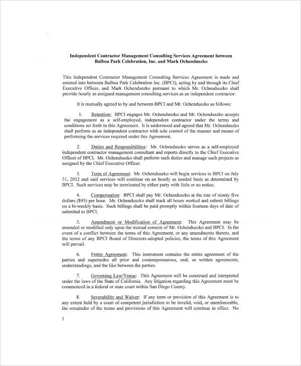 Sample Independent Consulting Agreement - 6+ Examples in Word, PDF - consulting services agreement