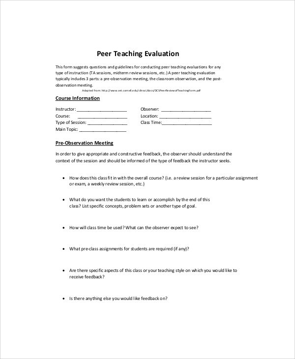 Peer Evaluation Form Sample  CvresumeCloudUnispaceIo