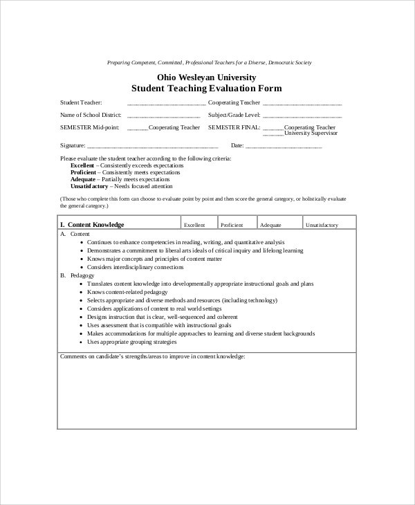Teacher Evaluation Form Special Education Teacher Evaluation Form - sample teacher evaluation form example