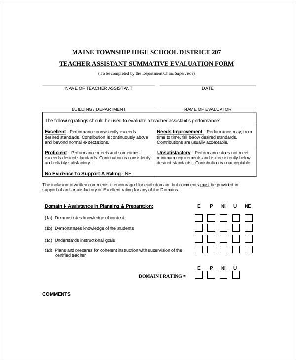 9+ Sample Teaching Evaluation Forms Sample Templates