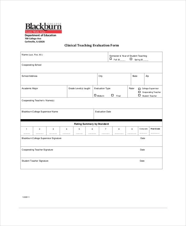 Sample Teacher Evaluation Form   Staruptalent.Com