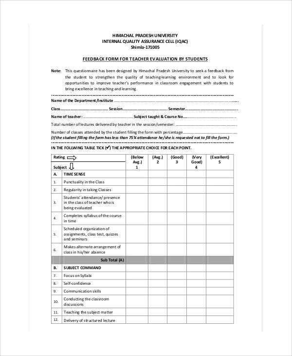 11 Teaching Evaluation Form Samples  Templates Sample Templates