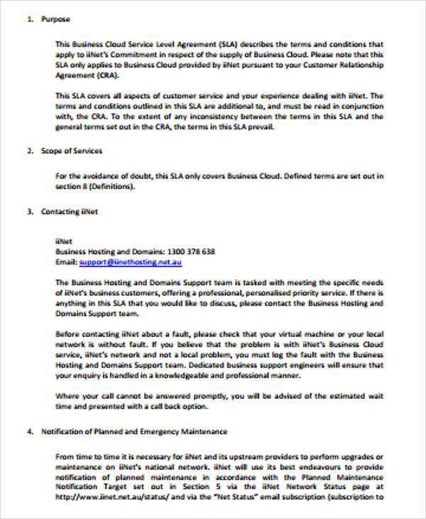 Sample Business Service Level Agreement - 8+ Examples in Word, PDF - business service level agreement