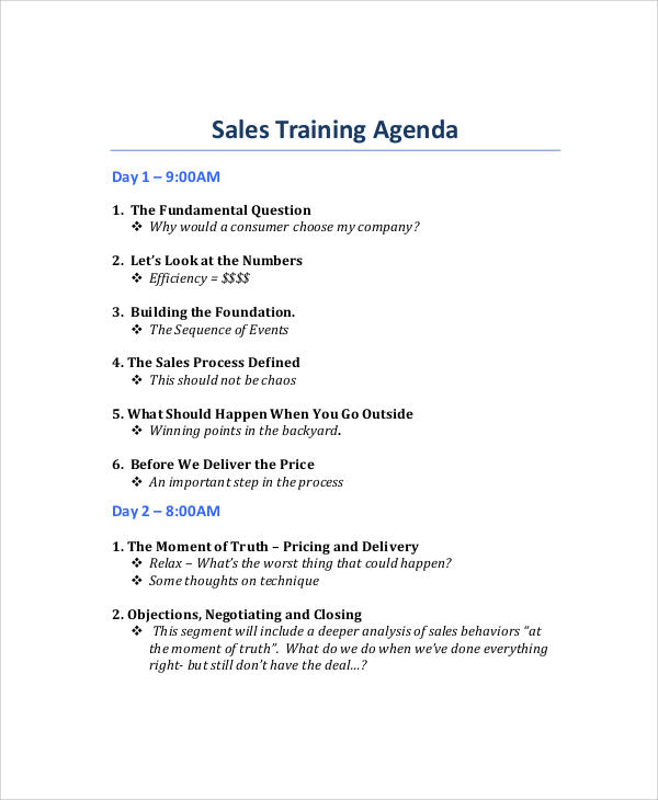 Sample Training Agenda  NodeCvresumePaasproviderCom