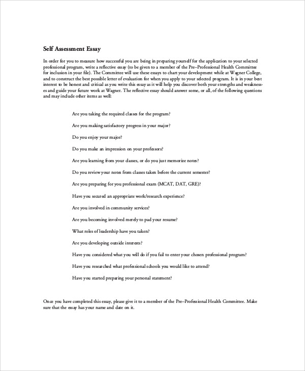 assessment essay sample example of employee self assessment co self