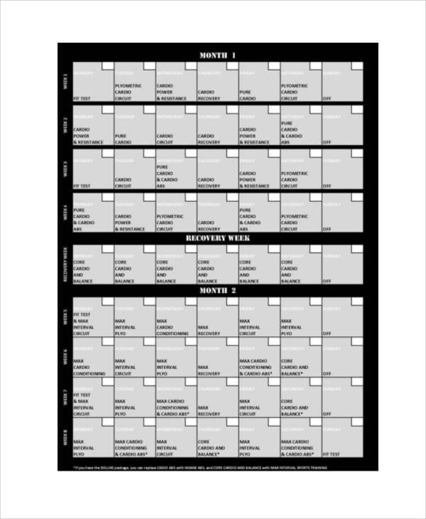 5+ Sample Workout Program Sheets Sample Templates