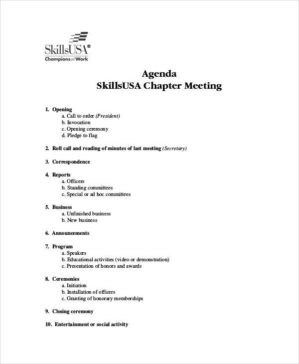 Agenda Sample - 34+ Examples in Word, PDF