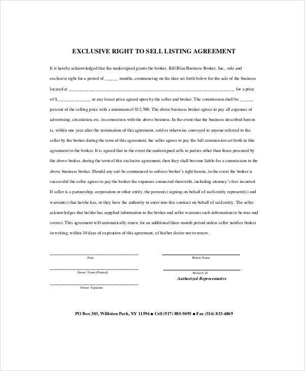 Sample Business Listing Agreement - 8+ Examples in Word, PDF, Apple