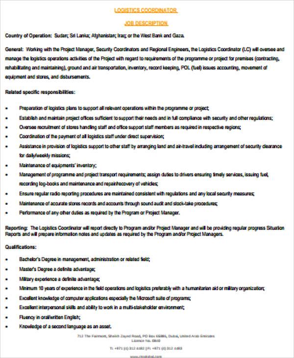 12+ Logistics Job Description Samples Sample Templates
