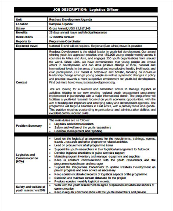 Logistics Job Description Sample