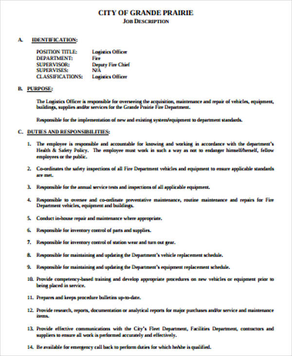 12+ Logistics Job Description Samples Sample Templates - logistics officer job description