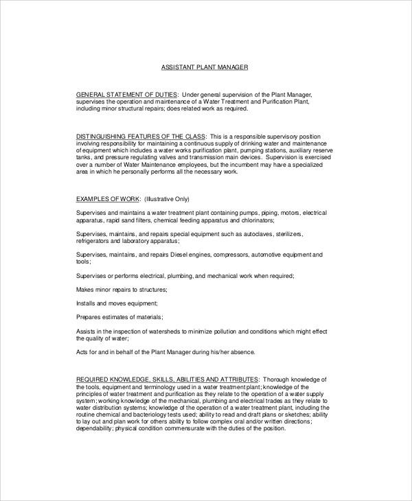 8+ Plant Manager Job Description Samples Sample Templates