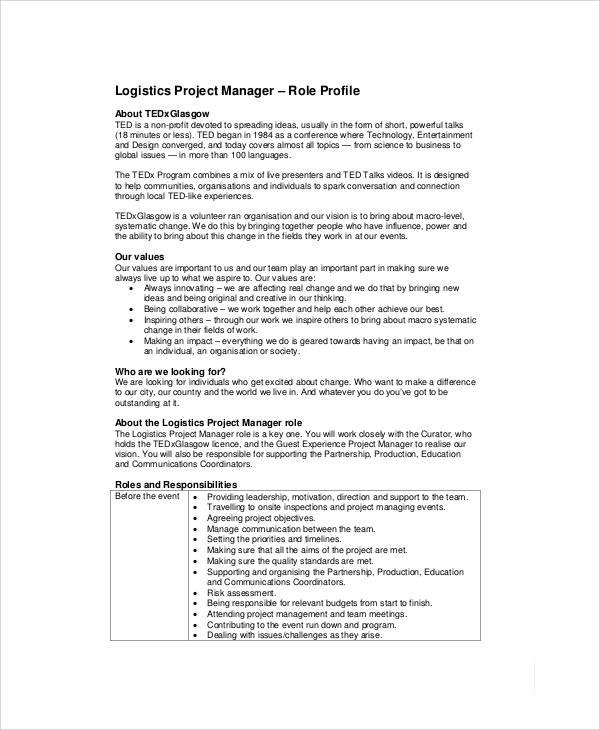 7+ Logistics Manager Job Description Samples Sample Templates