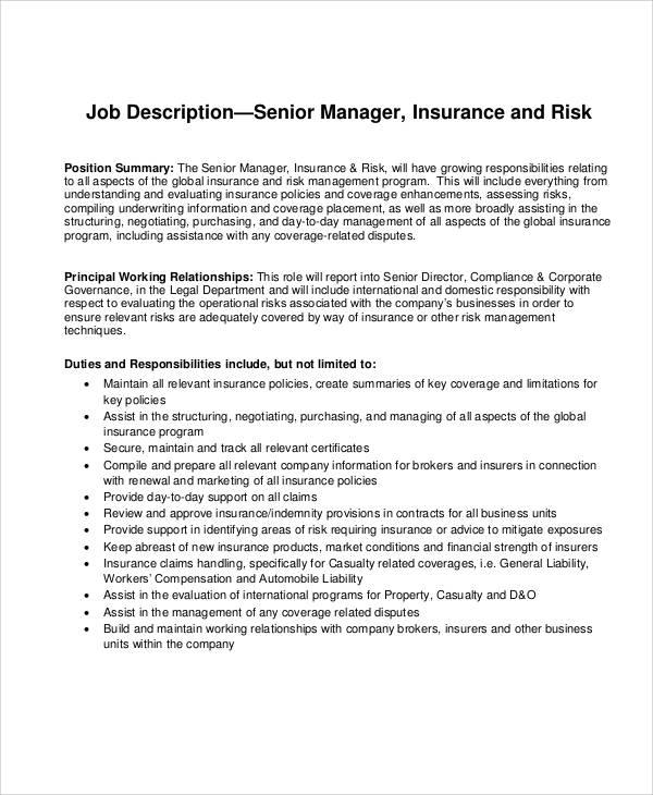8+ Risk Management Job Description Samples Sample Templates - management job description