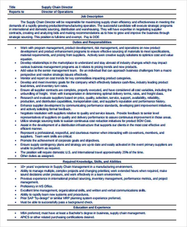 7+ Supply Chain Management Job Description Samples Sample Templates - management job description