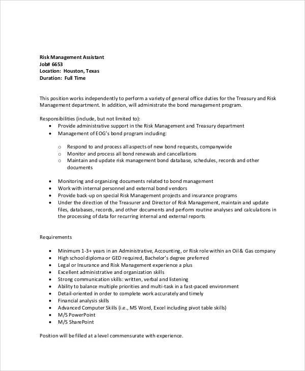 Risk Management Job Description Risk Management Officer Job - treasurer job description