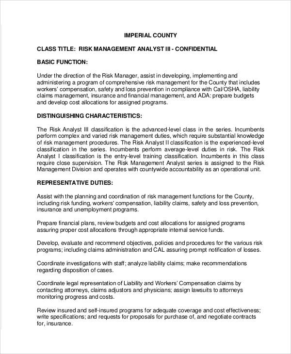 risk analyst job description - 28 images - operations analyst job - Management Analyst Job Description