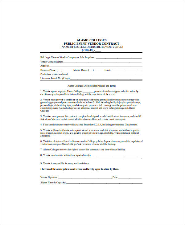 30+ Sample Contract Agreements Sample Templates - vendor contract agreement