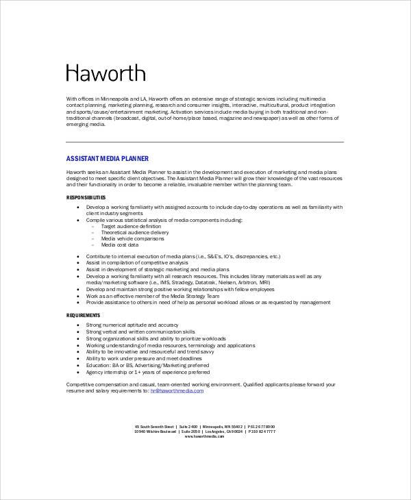 Media Planner Job Description Sample - 6+ Examples in Word, PDF
