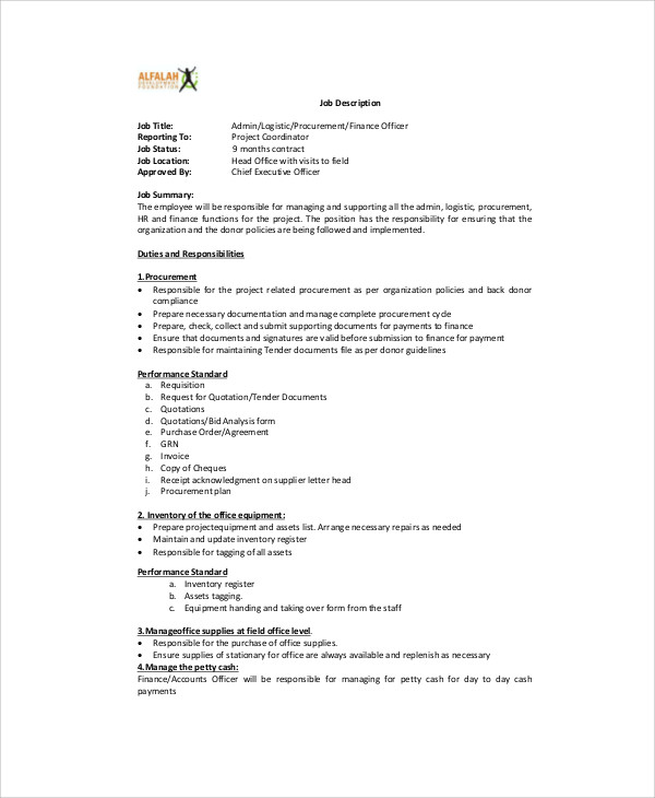 Logistics Job Description Supervisor Job Description Template Free - logistics officer job description
