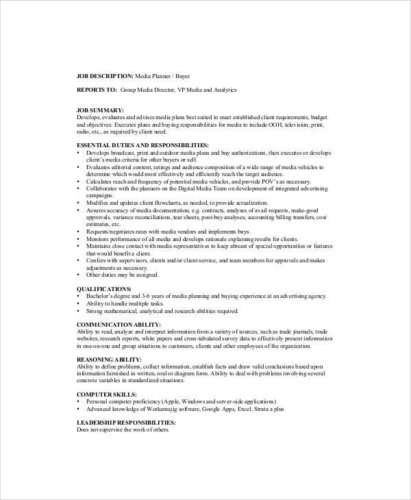 Famous Media Planner Job Description Image - FUNCTIONAL STYLE RESUME ...