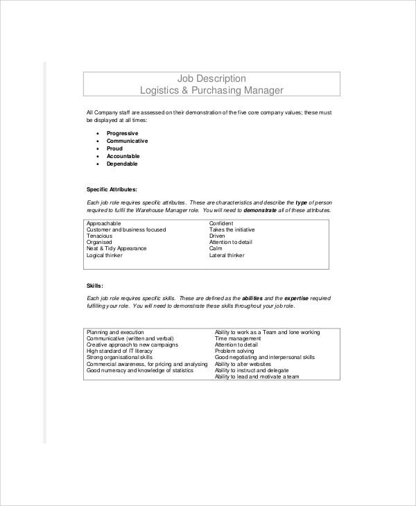 8+ Logistics Officer Job Description Samples Sample Templates
