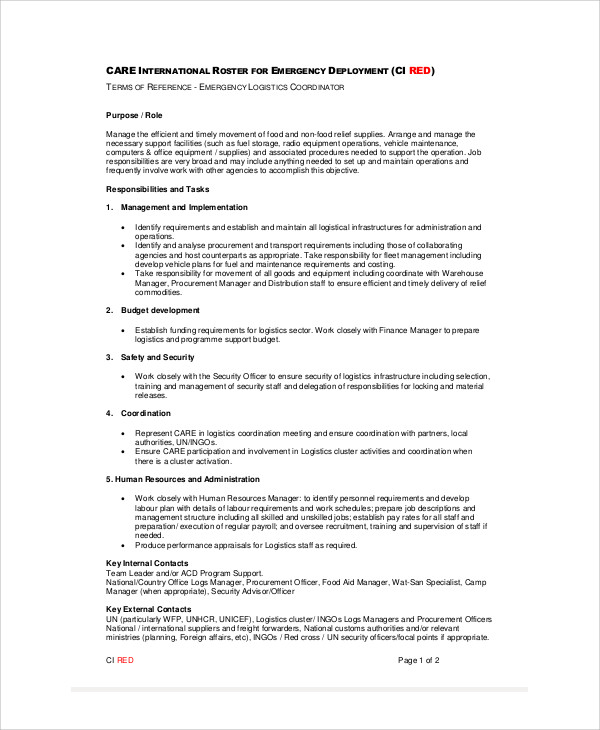 Awesome Logistics Coordinator Job Description Sample 9 Examples In Word Logistics  Job Description Maintenance Coordinator Job   Photo