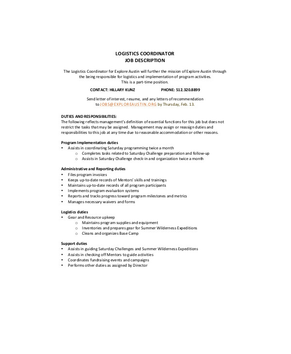 9+ Logistics Coordinator Job Description Samples Sample Templates - project coordinator job description